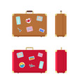 luggage valises for traveling icons set vector image