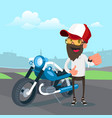 man in cap holding the key of a new motorcycle vector image vector image