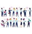 office workers people with chat communication vector image vector image