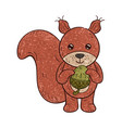 outlined textured a funny cartoon squirrel vector image vector image