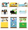 people sleeping at home at work set men and vector image