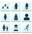person icons set with grandma profile student vector image