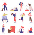 pet owners people with domestic animals cat dog vector image vector image