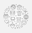 philanthropy and charity round outline vector image