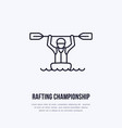 rafting kayaking flat line icon vector image vector image