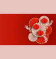 red and white composition with sakura paper vector image