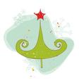 retro christmas tree card vector image vector image