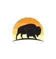 rustic bison logo vector image vector image