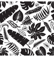 Tropical leavesbranches seamless patternBlack vector image vector image