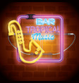 tropical music bar neon label vector image vector image
