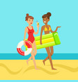 two young women walking on the beach holding vector image vector image