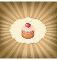 Vintage Label With Cupcake vector image vector image