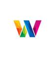 w colorful letter logo icon design vector image