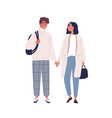 walking happy modern young people couple in love vector image vector image
