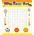 Word puzzle game with sport theme vector image