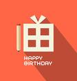 Flat Design Happy Birthday with Gift Box vector image