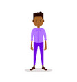 african boy character serious male violet suit vector image