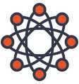 atom particle orbit structure flat outline vector image
