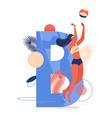 beach volleyball concept with capital vector image vector image