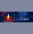 beautiful diwali festival blue banner with diya vector image vector image