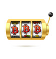 bitcoin jackpot on slot machine cryptocurrency vector image vector image