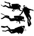 black set silhouette scuba divers on a white vector image vector image