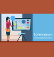business woman with flip chart seminar training vector image