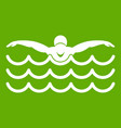 butterfly swimmer icon green vector image vector image
