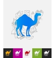 camel paper sticker with hand drawn elements vector image