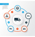 car icons set collection of truck auto drive vector image