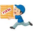 Cartoon a delivery man holding pizza vector image vector image