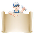 cartoon mechanic and scroll vector image vector image