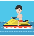Caucasian man training on jet ski in the sea vector image vector image