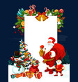 christmas greeting card of santa claus with banner vector image
