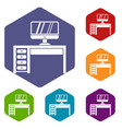 computer desk workplace icons set vector image