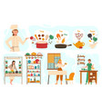 cooking healthy food recipe for homemade meal vector image vector image