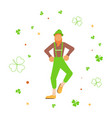 cute cartoon leprechaun dancing amongst shamrock vector image vector image