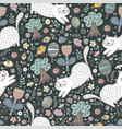 cute cat in the forest seamless pattern vector image vector image
