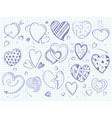 cute doodle hearts love ball pen drawn vector image vector image