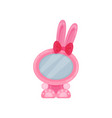 cute photo frame in the shape of pink bunny album vector image vector image
