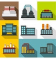 Factory icons set flat style vector image vector image
