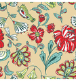 Floral seamless pattern with dragonfy vector image