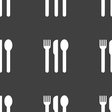 fork knife spoon icon sign Seamless pattern on a vector image