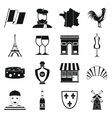 France travel icons set simple style vector image vector image