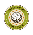 golf club round colored emblem with ball vector image vector image