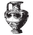 greek vase is a fully decorated vintage engraving vector image