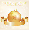 greeting card with christmas ball and ribbon vector image