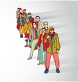 Group people standing in queue tail waiting flat vector image