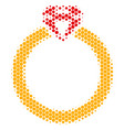 halftone dot ruby ring icon vector image vector image