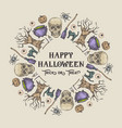 halloween sketch wreath banner or card template vector image vector image